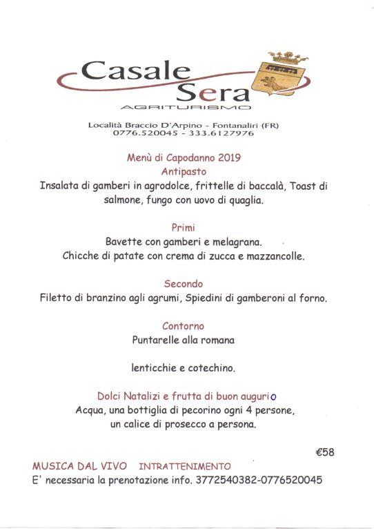 Cenone Capodanno 2019 Agriturismo Casale Sera Fontana Liri